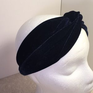 Velvet navy blue headband